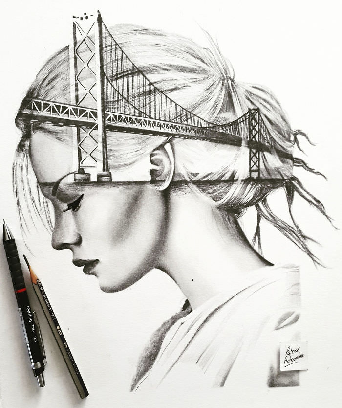 Artist Merges Buildings And People To Draw Double Exposure Drawings Onbites
