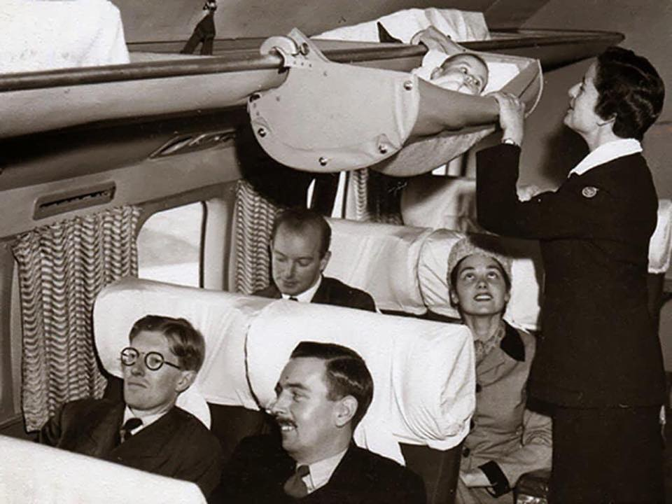 How babies traveled on airplanes in the 1960s